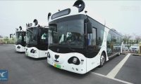 Smart self-driving buses put into operation in Tianjin, China