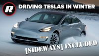 Winter driving all Tesla cars in Alaskan snow